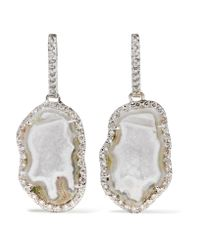 Kimberly Mcdonald | Multicolor 18-karat White Gold, Geode And Diamond Earrings | Lyst