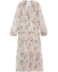 Zimmermann Natural Jasper Ruffle-trimmed Floral-print Silk-crepon Dress