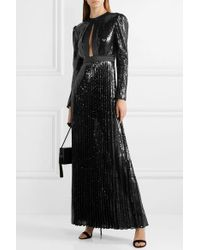 Philosophy Di Lorenzo Serafini Black Satin-trimmed Sequined Tulle Gown