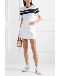 La Ligne White Striped Cotton-jersey T-shirt