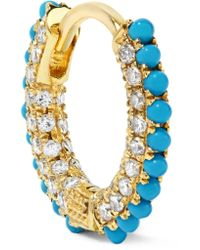Maria Tash - Metallic 18-karat Gold, Diamond And Turquoise Earring - Lyst