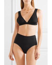 Marysia Swim Black Nassau Reversible Striped Bikini Top