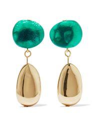 Dinosaur Designs - Green Short Mineral Gold-filled Resin Earrings - Lyst