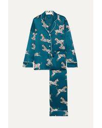 Olivia Von Halle Blue Lila Pyjama Aus Bedrucktem Seidensatin