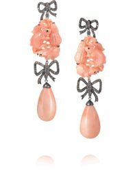 Lydia Courteille - Metallic 18-karat Blackened White Gold, Diamond And Coral Earrings - Lyst