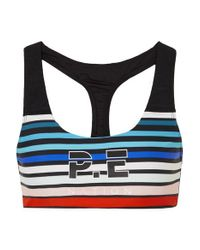 P.E Nation Black Resurgence Gestreifter Sport-bh Aus Stretch-material