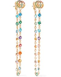 Gucci - Metallic 18-karat Gold Multi-stone Earrings - Lyst