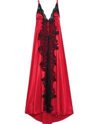 Rosamosario Red Madame Shehu Lace-paneled Silk-satin Nightdress