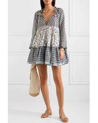 Mini-robe En Voile De Coton Imprimé Volang Yvonne S en coloris Black