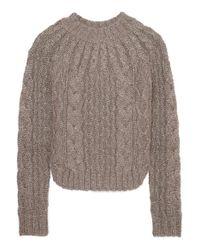 Saint Laurent Gray Metallic Cable-knit Sweater
