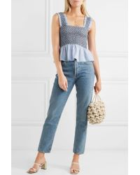 Ganni - Blue Charron Shirred Gingham Cotton-blend Seersucker Top - Lyst