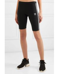 Adidas Originals Black Striped Stretch-cotton Jersey Shorts
