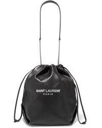 Saint Laurent Black Teddy Bedruckte Beuteltasche Aus Leder