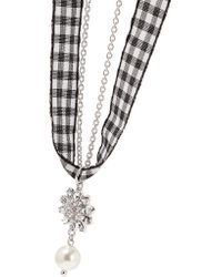 Miu Miu - Metallic Gingham Cotton, Silver-tone, Crystal And Faux Pearl Necklace - Lyst