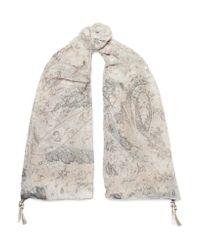 Etro - White Bombay Fil Coupé Silk-chiffon Scarf - Lyst