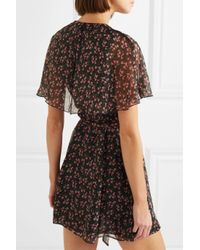 AlexaChung - Purple Floral-print Chiffon Wrap Mini Dress - Lyst