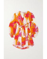 Rebecca Vallance Multicolor Paradise Minikleid Aus Bedruckter Seide Mit Rückenausschnitt Und Bindegürtel
