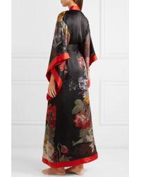 Carine Gilson - Black Floral-print Silk-satin Robe - Lyst