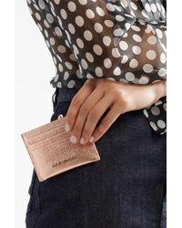 Givenchy Pink Pandora Kartenetui Aus Strukturiertem Leder In Metallic-optik