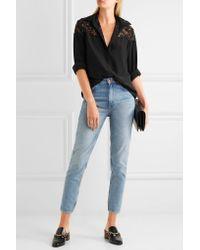 Stella McCartney   Black Frederika Lace-paneled Silk Crepe De Chine Shirt   Lyst