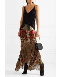 Anna Sui - Metallic Fringed Flocked Lamé Midi Skirt - Lyst
