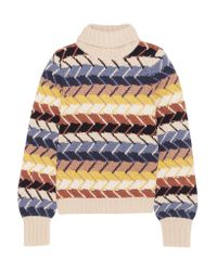 Chloé - White Merino Wool And Cashmere-blend Turtleneck Sweater - Lyst