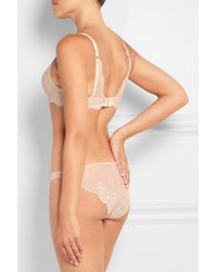 Stella McCartney - Natural Smooth & Lace Stretch-crepe And Lace Contour Plunge Bra - Lyst