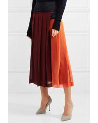 Victoria Beckham | Red Paneled Pleated Georgette Midi Skirt | Lyst
