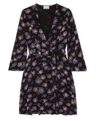 Ganni Black Floral-print Georgette Mini Wrap Dress