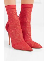 Gianvito Rossi Red 105 Sock Boots Aus Stretch-spitze Und Veloursleder