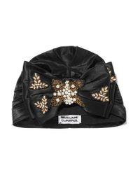 Turban En Satin À Broderies Et À Perles Synthétiques Yoshiko MaryJane Claverol en coloris Black