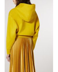 Valentino Yellow Cropped Sequin-embellished Cotton-blend Jersey Hoodie