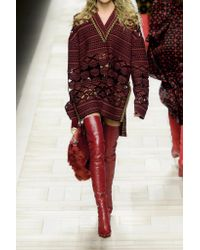 Fendi Red Laser-cut Wool-blend Sweater