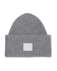 Acne - Gray Pansy Appliquéd Ribbed Wool Beanie - Lyst