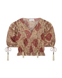 Zimmermann Multicolor Tulsi Cropped Crochet-trimmed Printed Linen Blouse