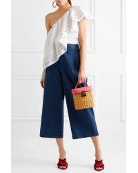 Mark Cross Pink Benchley Textured Leather-trimmed Rattan Shoulder Bag