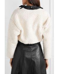 3.1 Phillip Lim Multicolor Cropped Shell-paneled Wool-blend Fleece Bomber Jacket