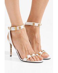 Sandales En Cuir À Ornements Versace en coloris White