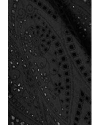 Ganni Black Asymmetrischer Rock Aus Baumwolle Mit Lochstickerei