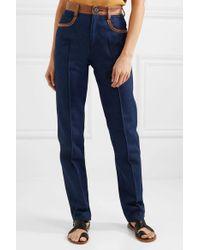 Wales Bonner Blue Leather-trimmed Jeans
