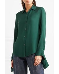 Theory Green Silk-crepe Shirt
