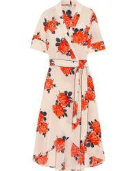 Ganni Floral-print Silk Crepe De Chine Wrap Dress Pastel Pink