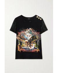 Balmain Black T-shirt Aus Jersey Aus Einer Baumwollmischung Mit Print Und Zierknöpfen