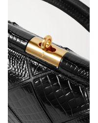 GU_DE Black Milky Croc-effect Leather Tote