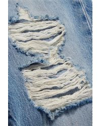 R13 - Blue Double Classic Distressed Mid-rise Straight-leg Jeans - Lyst