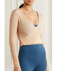 Live The Process Natural Wrap-effect Cotton And Cashmere-blend Top