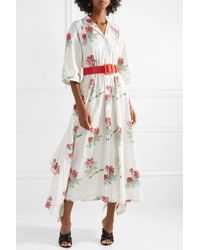 Rosie Assoulin White Waiting For Godet Belted Coated Cotton-blend Poplin Maxi Dress
