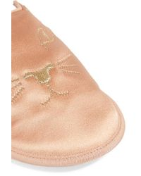 Charlotte Olympia Pink House Cats Bestickte Slippers Aus Satin