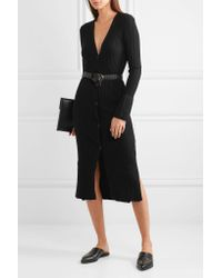 DKNY - Black Ribbed Silk, Wool And Cashmere-blend Cardigan - Lyst