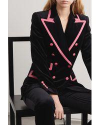 Dolce & Gabbana Black Two-tone Double-breasted Satin-trimmed Velvet Blazer